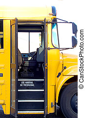 School Bus Door - An open door on a public school bus.
