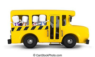 School Bus - 3D Illustration of Kids Waving From the School...