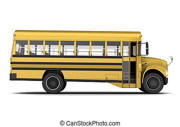 School bus - Single yellow school bus isolated on white...