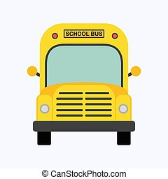 School bus flat design style on white background, vector illustration