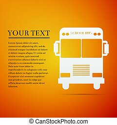 School Bus flat icon on orange background. Vector Illustration