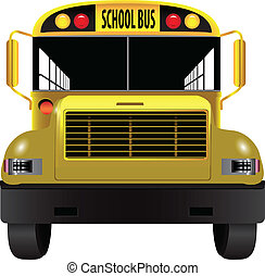 School bus front - A vehicle for transporting children -...