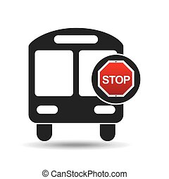 school bus front stop road sign design vector illustration...