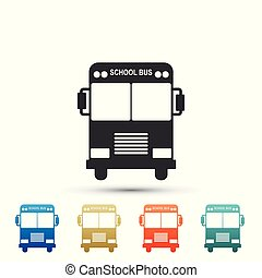 School Bus icon isolated on white background. Set elements in colored icons. Flat design. Vector Illustration