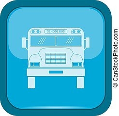 School bus icon on a blue button