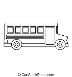 School bus icon, outline style