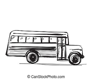 School bus icon. Outlined on white background.