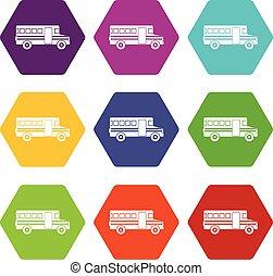 School bus icon set color hexahedron