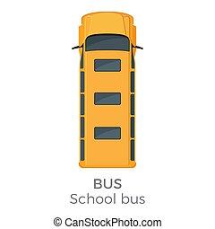 School Bus Icon Top View Flat Vector Illustration