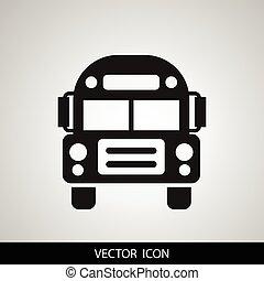 School Bus icon vector, solid illustration