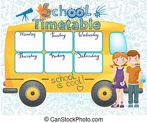 School bus image with timetable