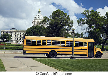 School Bus in front of State Capitol in St. Paul.