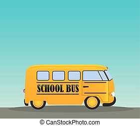 School Bus in Road. Back to School Concept Background