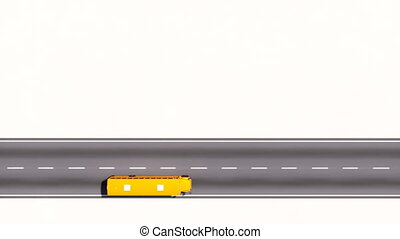 School bus moving on road aerial view copy space