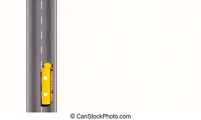 School bus on empty road top view 3D animation - Aerial top...