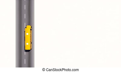 School bus on empty road top view with copy space - Aerial...
