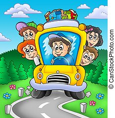 School bus on road - color illustration.