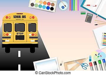 School bus on the road and school equipment
