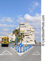 School Bus on Urban City Street
