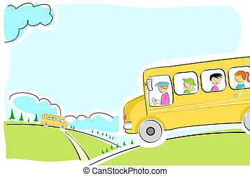 school bus on  way - illustration of school bus on  way