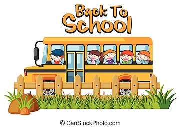 School Bus on White Background