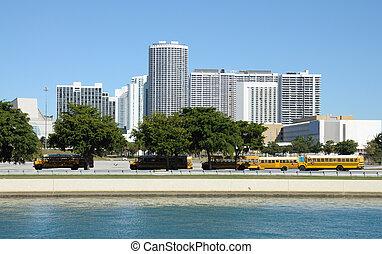 School bus parking in the city. Miami Florida, USA