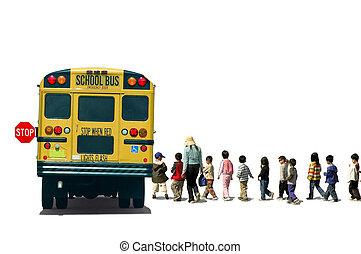 School Bus - Students (school children/pupils) and a teacher...