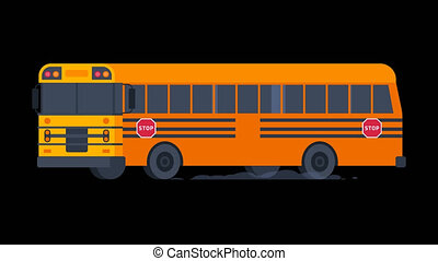 School Bus Rides with Flashing Lights On. Transparent Background.