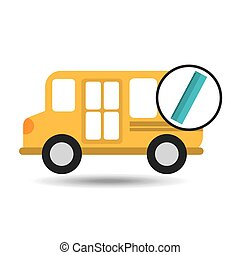school bus ruler icon graphic vector illustration eps 10