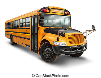 School bus for student transport service for elementary and high school students with a yellow and black painted vehicle as an education symbol of safe children transportation on a white background.