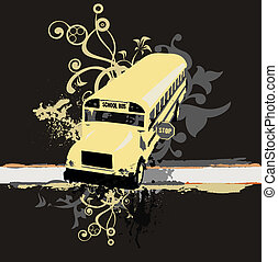 school bus - school concept ,all art elements made by me...