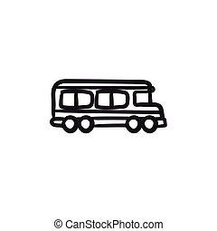 School bus sketch icon.