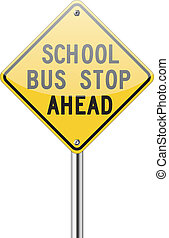 School bus stop ahead sign on white