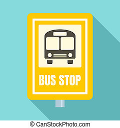 School bus stop sign icon, flat style