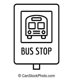 School bus stop sign icon, outline style