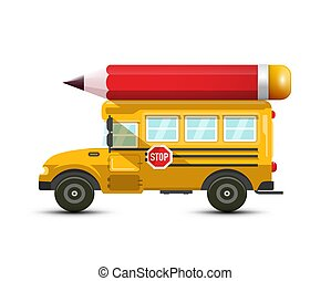 School Bus Vector Icon with Big Red Pencil