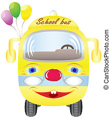 School bus with balloons