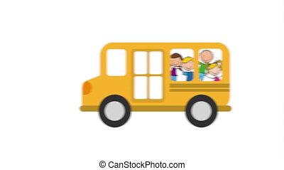 School bus with children, Video Animation