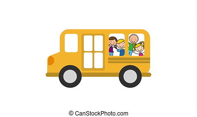 School bus with children, Video Animation