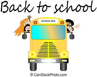 School bus with happy children back