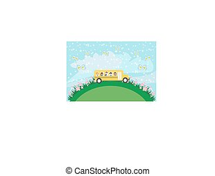 School bus with happy children - card