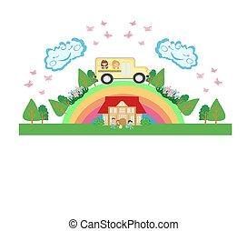 School bus with happy children - card