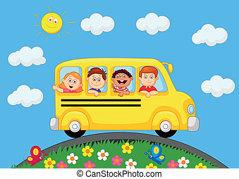 School Bus With Happy Children cart