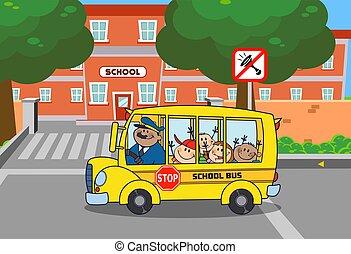 School Bus With Happy Children Cartoon Characters Going To School