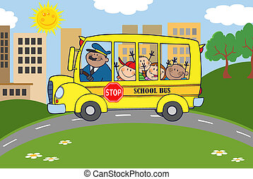 School Bus With Happy Children - School Bus Heading To...