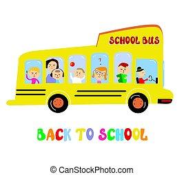 School bus with kids cartoon