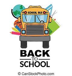 school bus with school objects