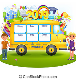 School bus with school timetable