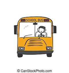 School bus. Yellow bus for kids. Children transportation. Hand drawn. Stickman cartoon. Doodle sketch, Vector graphic illustration