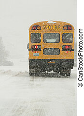 school bus2 - school bus stopped at stop sign on snowy...